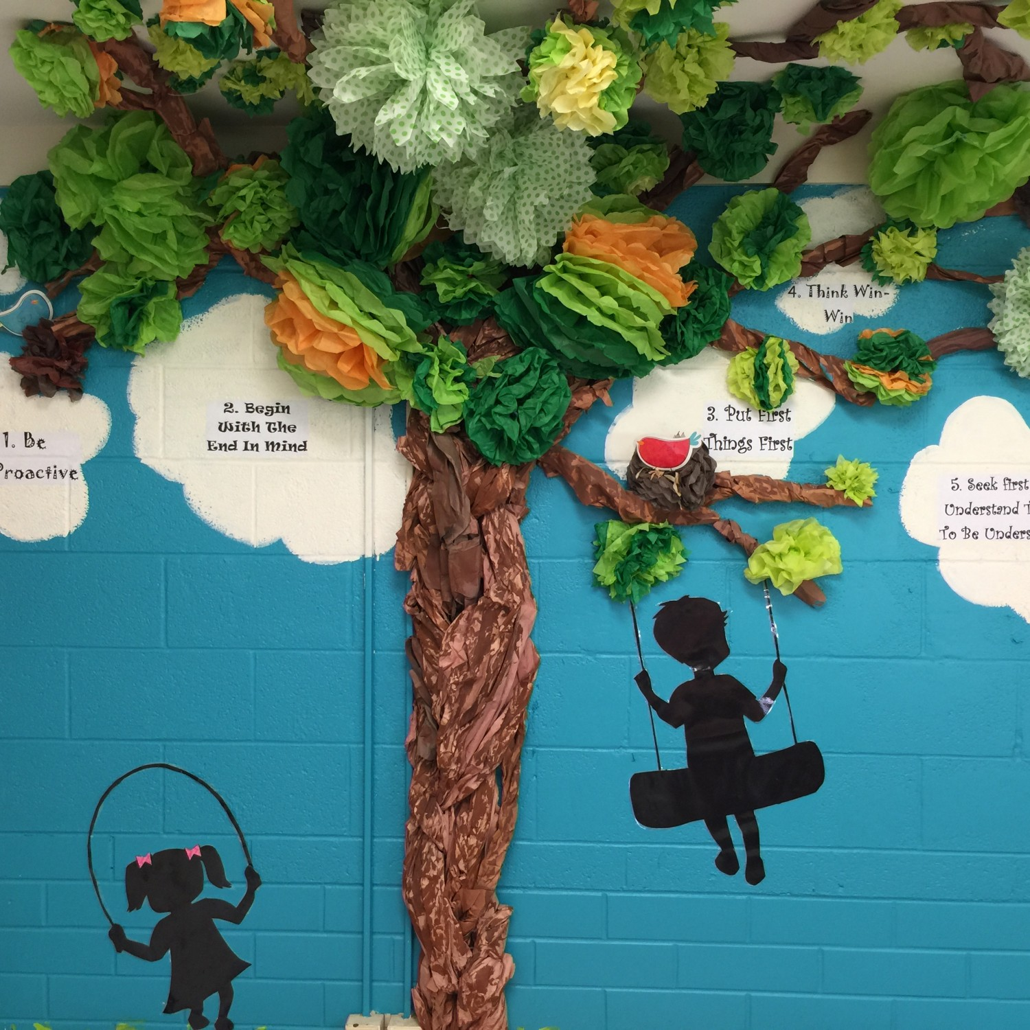 Leader in me tree colorize your classroom for 7 habits tree mural